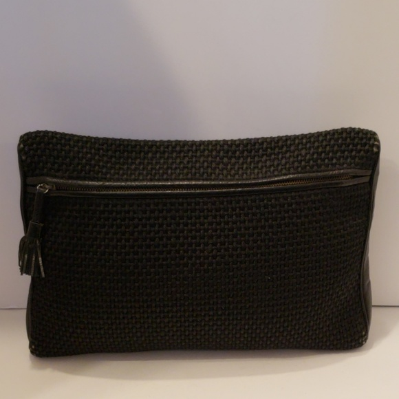 Bottega Veneta Handbags - Bottega Veneta black tweed and leather clutch